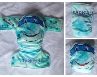 Modern Cloth Nappy Blue Turtle