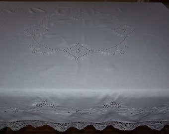 Polish Antique White Handmade Tablecloth/Amazing Handmade Richelieu Floral White Embriodery Tablecloth/Beautiful Polish Handmade Embroidery