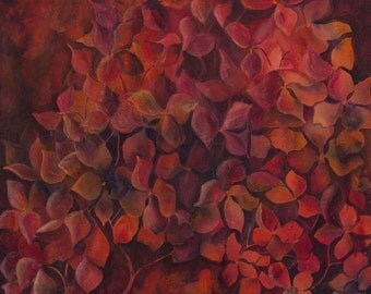 Hydrangea painting Red home decor Large red painting Abstract Red flower art painting Ruby red wall print art print Acrylic art Canvas art