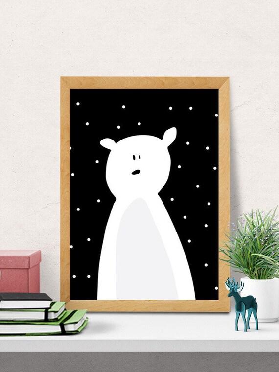 Bear print cute bear nursery wall decor modern by - Modern nursery wall decor ...