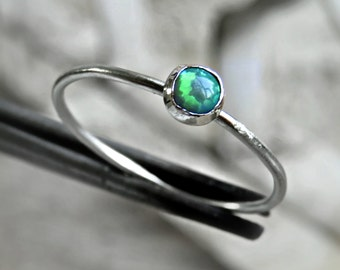 Sterling Silver Opal Ring, Sterling Silver Gemstone Ring, Dainty Opal Ring, Green Opal Ring