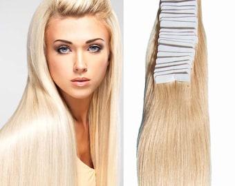 100% human Remy hair Tape Hair Tape Hair Extension 40pcs/set Tape In Human Hair 613