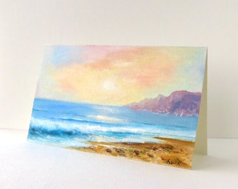 Art cards Signed art Birthday card Hand painted card Romantic cards Seascape oil painting Summer Oil on paper OOAK Handmade greeting card