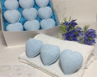 Heart Bath Bombs.  9 x Blue Ocean Heart Bath Bombs in a gift box.