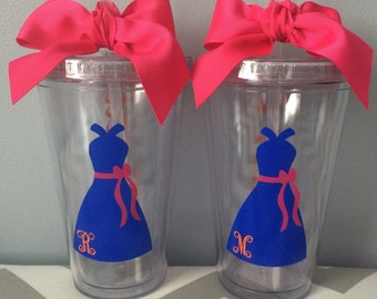 Bridal Party Dress and Initial Tumblers