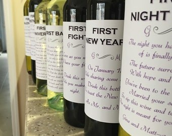 8 Bridal Shower Wine labels - First