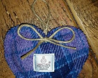 Harris Tweed Purple Lavender filled Heart
