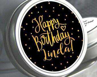12 Birthday Favors - Birthday Party Favors - Birthday Favors - Birthday Decor - Personalized Favors - Black and Gold Birthday Favors