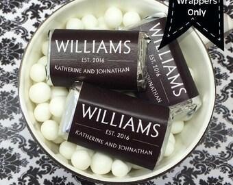 Personalized  Last Name Hershey's Miniatures Chocolate Wrappers - Wedding Decor - Wedding Mini Wrappers - Miniature Hershey Wrapper