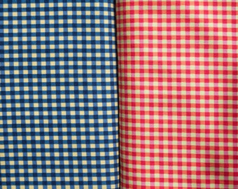 Michael Miller Kids Check Fabric in Red and Blue; Gingham Look Quilting Weight Fabric; Modern Fabric; Main Street Fabrics