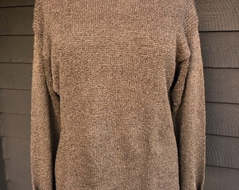 ANI BARRIE Sweater, Hand Loomed, Pullover, Rolled Round Collar, Long Sleeves, Cotton Rayon Blend, Brown, Black Accents, Large, Vintage