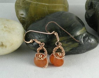 Carnelian Sacred Spiral Wire Wrapped Earrings - Egyptian