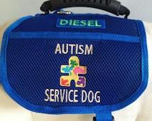 "Light Mobility Service Dog Vest. Handmade,Rubber Handle,Padded 2"" Front Strap, 2 pockets, ADA Laws Card & Holder, Zipper Bag clips on"