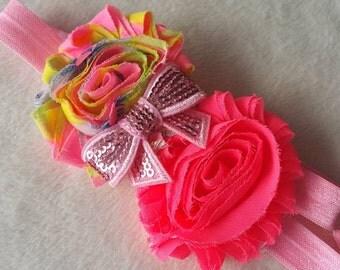 Neon Shabby Chiffon Headband, Chiffon headband, Neon Pink, Neon Orange, Neon Yellow, Neon Green, Adjustable Headband, Baby Headband