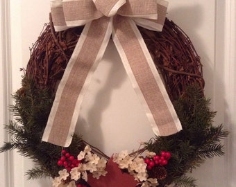 18-inch Christmas or Holiday Wreath with Red Star, Greenery, and Berries