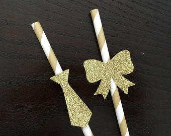 12 Mixed bow and tie gold paper straws .. gender reveal baby shower .. paper straws .. baby shower