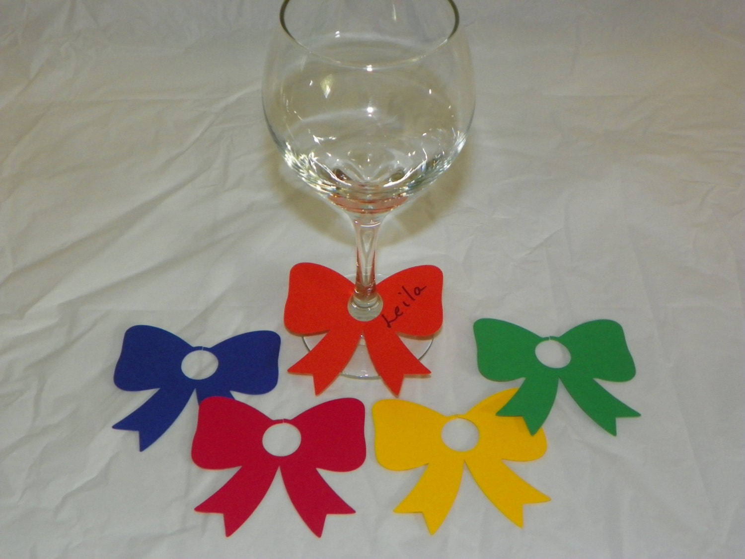 set of 5 primary paper wine glass charms paper wedding