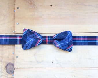 Hand Made Navy/Blue/Red Plaid Bow Tie, Made From Reclaimed Cotton.