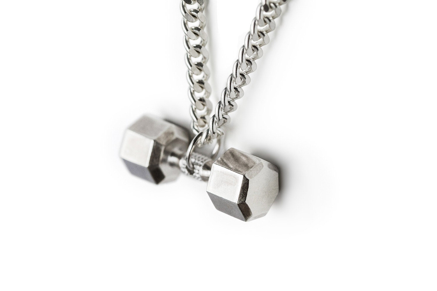 Silver 925 Dumbbell Necklace Fitness Jewelry Fitness Charm