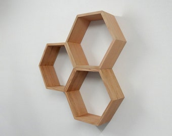 Hexagon Wooden Shelf // Shadow box // Tasmanian Oak