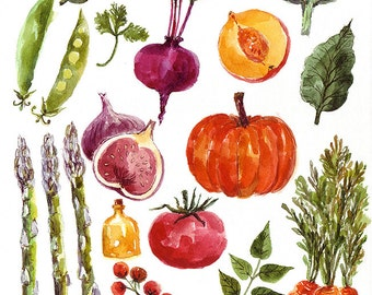 Original Watercolor Illustration with Vegetables and Fruits. Hand painted Artwork.