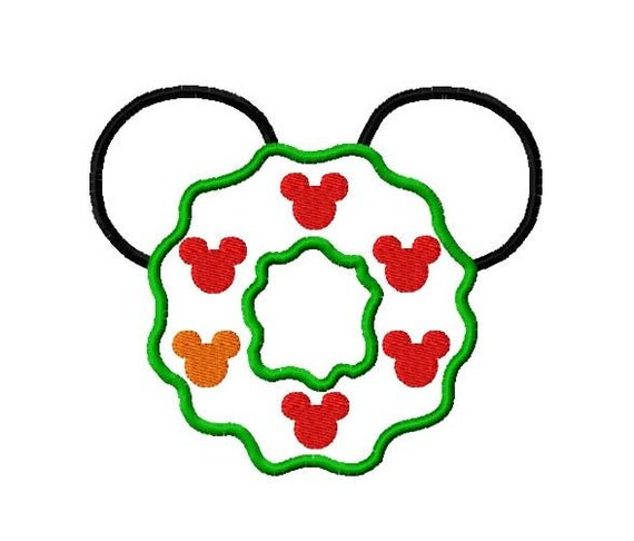 Character Applique Design : Character mouse wreath with bulbs applique embroidery