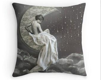 La Bella Luna art deco throw pillow decorative pillow 16x16 pillow cover by Tori Jane