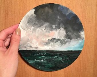 Cloudy Ocean Painting on Wood