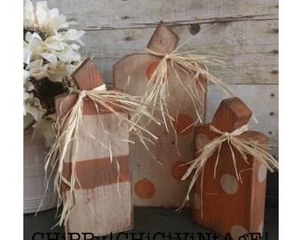 Pumpkins, Polka Dot Pumpkins, Pumpkin 3 Piece Set, Tabletop Decoration, Fall Decorations, Rustic Pumpkins, Distressed Pumpkins, Stripes