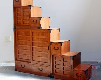 3 section double sided kiri wood step chest, Japanese style kaidan dansu