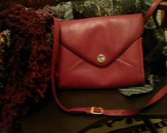 SALE! now 30.04Vintage Pierre Cardin,  Paris. Cross-body envelope style purse. In a deep red, and one big open space, great everyday bag.