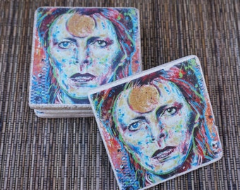 David Bowie Tumbled Marble Coasters - Set of 4