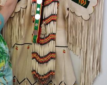 Vintage Native American Indian Beaded Ceremonial Fringed Buckskin Dress