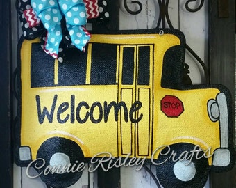 School Bus Burlap Door Hanger Decoration and Welcome Wreath