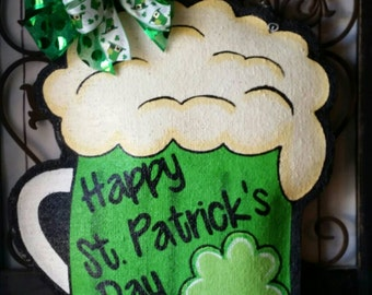 St. Patrick's Day Beer Mug Burlap Door Hanger Decoration