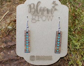 Wooden Earrings - Chevron Stripe - Turquoise