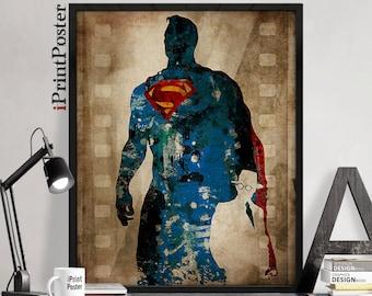 Superman, DC Comics, poster, Superman poster,Superhero, Clark Kent, action hero, art print, home decor, Gift for him, wall art, iPrintPoster