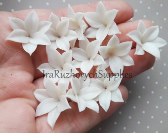 10 pcs.  Lily polymer clay flowers, polymer clay flower bead, pearl effect