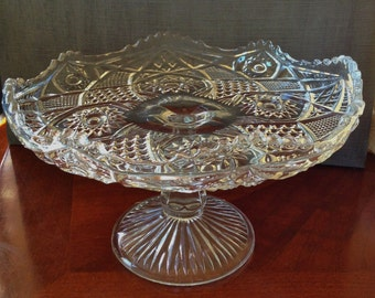 Vintage Small Cut Glass Footed 8 inch Cake Stand Dessert Tray or Bonbon Dish