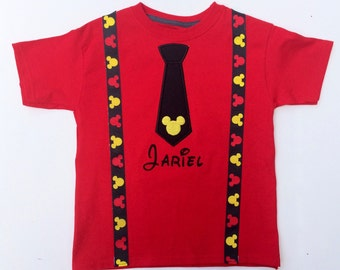 Personalized Mickey Mouse inspired tie and suspender shirt