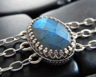 Luminous Blue Flash Labradorite and Sterling Silver Bracelet - Labradorite Bracelet - Silver Bracelet - Artisan Bracelet - Checkerboard Cut