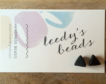 Handmade Black Tri Stud Polymer Clay Earrings