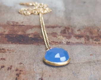 Blue Quartz Necklace, Blue Stone Pendant, Blue Gold Necklace, Bezel Set Blue Quartz Stone Gold Necklace, Dainty Gold Necklace