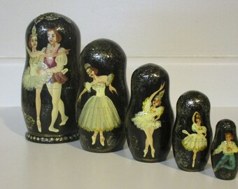 Matryoshka ballerina nesting dolls, set of 5