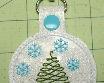 Snow Globe Key Fob, Zipper Pull, Purse Charm, Snap Tab - Perfect Gift, Stocking Stuffer or even a Present Accessory/Decoration!
