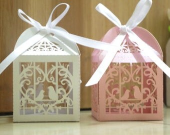 Wedding Favors Candy/Sweet/Lolly Laser Cut Heart Lovebirds Cardboard Gift Boxes (Set of 50)