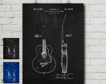 Gretch Guitar Patent Request Print - Acoustic, Electric, Fender, Gibson, Les Paul, Vintage, Blueprint, Wall Decor, Wall art, Cool Gift!
