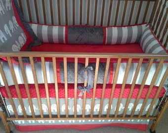 Red and gray elephants stripes baby bedding, alabama baby bedding set.