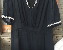 Late 20's Early 30's Black Silk Day Dress