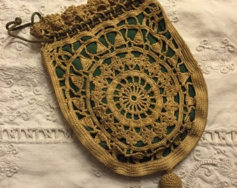 Late Victorian Early Edwardian Handmade Draw String Purse.